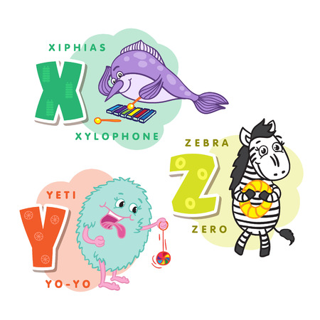 Alphabet Children Colored letter X Y Z Illustration