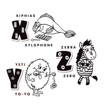 Alphabet letter X Y Z depicting an hiphias, yeti and zebra. Vector alphabet