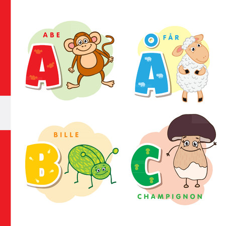 Danish alphabet. Monkey, sheep, beetle mushroom Vector letters and characters