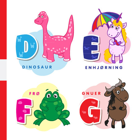 Danish alphabet. Dinosaur, unicorn, frog wildebeest Vector letters and characters Illustration