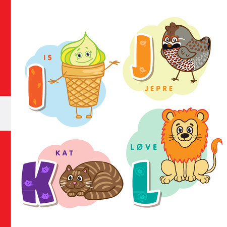 Danish alphabet. Ice cream, hazel grouse, cat, lion Vector letters and characters