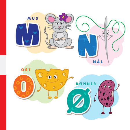 Danish alphabet. Mouse, needle, cheese beans Vector letters and characters Illustration