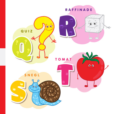 Danish alphabet. Question, sugar, snail tomato Vector letters and characters Illustration