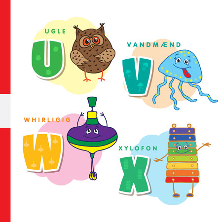 Danish alphabet. Owl, jellyfish, pinwheel xylophone Vector letters and characters Vectores