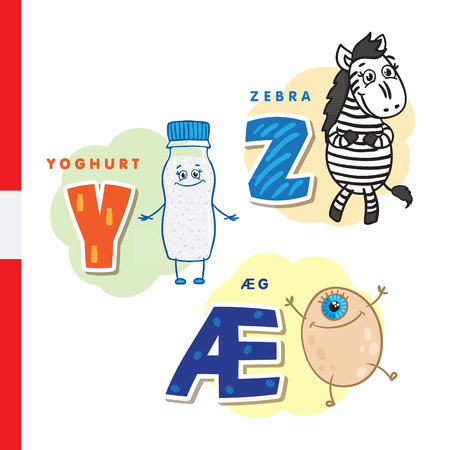 Danish alphabet. Yogurt, zebra, egg Vector letters and characters