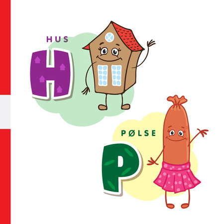 Danish alphabet. Home, Sausage Vector letters and characters Illustration