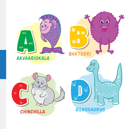Finnish alphabet. Aquarium fish, bacteria, chinchilla, dinosaur. Vector letters and characters.