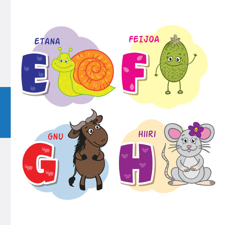 Finnish alphabet. Snail, feijoa, wildebeest, mouse. Vector letters and characters.