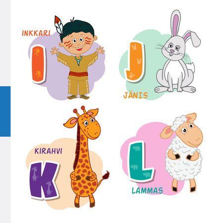 Finnish alphabet. Native American, Rabbit, Giraffe, Sheep. Vector letters and characters.