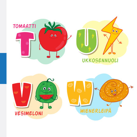 slingshot: Finnish alphabet. Tomato, Lightning, Watermelon, Viennese. Vector letters and characters.