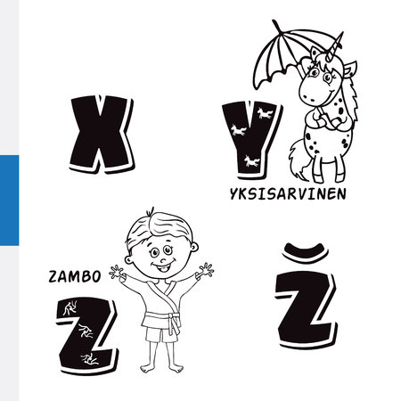 Finnish alphabet. Unicorn, Sambo. Vector letters and characters.