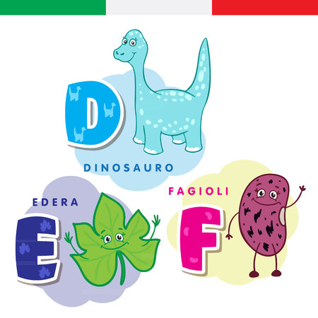 Italian alphabet. Dinosaur, ivy, beans. Vector letters and characters.