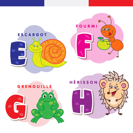 French alphabet. Snail, ant, frog, hedgehog. Vector letters and characters