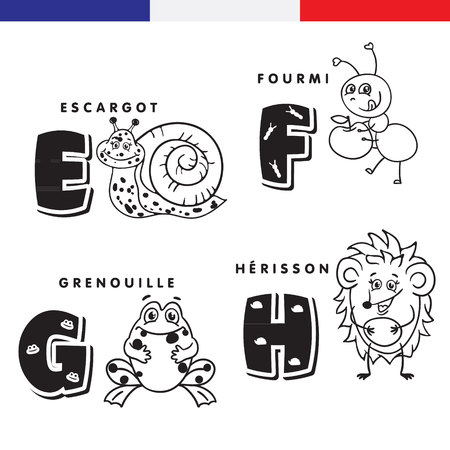 French alphabet. Snail, ant, frog, hedgehog. Vector letters and characters. Ilustracja