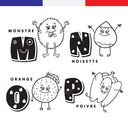school: French alphabet. Monster, hazelnuts, orange, pepper. Vector letters and characters. Illustration