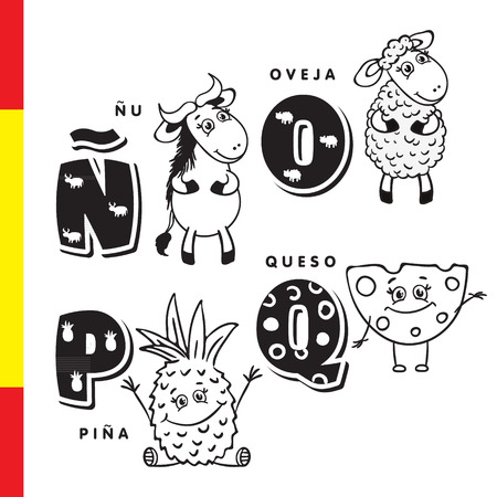 Spanish alphabet. Wildebeest, sheep, pineapple, cheese. Vector letters and characters.