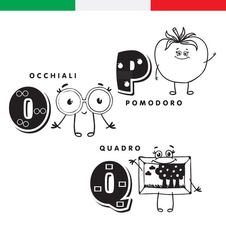 Italian alphabet. Glasses, tomato, picture. Vector letters and characters.