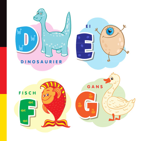 Deutsch alphabet. Dinosaur, egg, fish, goose. Vector letters and characters Ilustracja