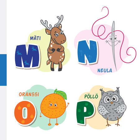 Finnish alphabet. Roe, Needle, Orange, Owl. Vector letters and characters.