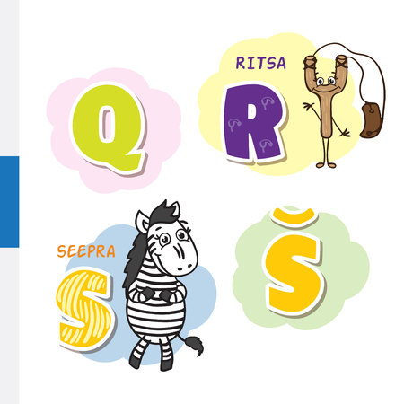 Finnish alphabet. Slingshot, Zebra. Vector letters and characters.