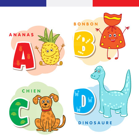 French alphabet. Pineapple, sweet, dog, dinosaur,. Vector letters and characters.