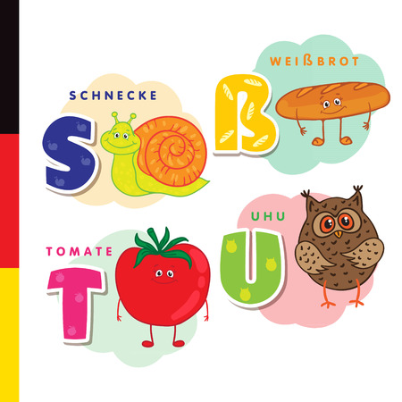 Deutsch alphabet. Snail, white bread, tomato, owl. Vector letters and characters Ilustracja