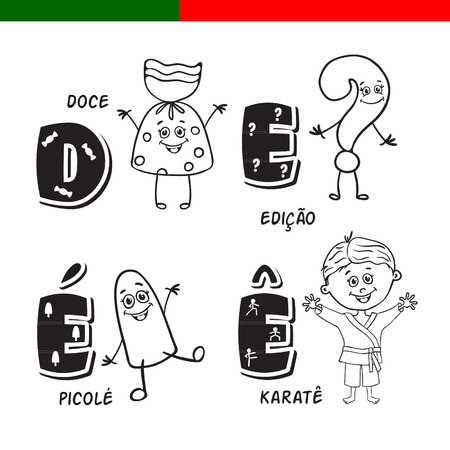 Portuguese alphabet. Candy, question mark, popsicle, karate. The letters and characters. Ilustracja