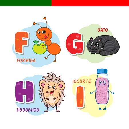 Portuguese alphabet. Ant, cat, hedgehog, yogurt. The letters and characters. Ilustracja