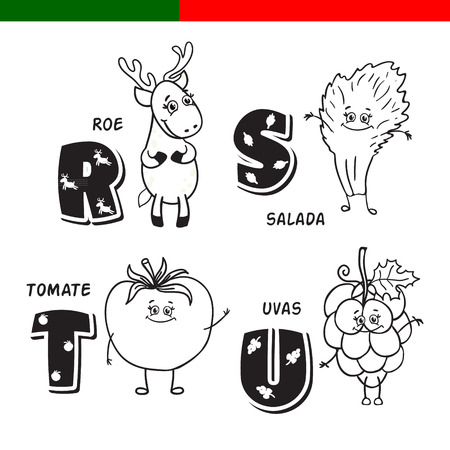 Portuguese alphabet. Roe, lettuce, tomato, grapes. The letters and characters.
