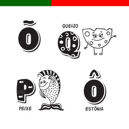 Portuguese alphabet. Fish, cheese. The letters and characters.