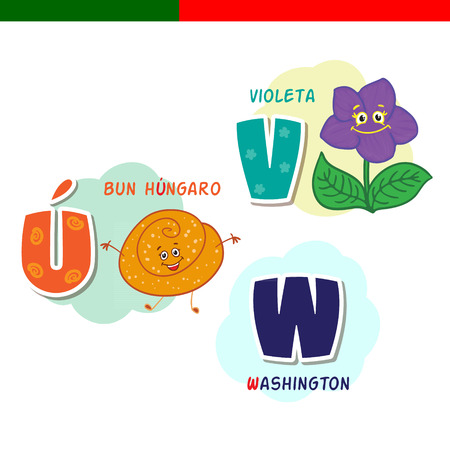 Portuguese alphabet. Hungarian bun, violet. The letters and characters.