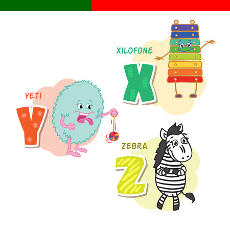 Portuguese alphabet. Xylophone, Yeti, zebra. The letters and characters.