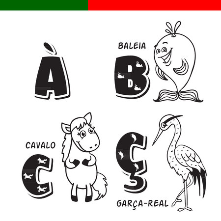 Portuguese alphabet. Horse, heron, whale. The letters and characters.