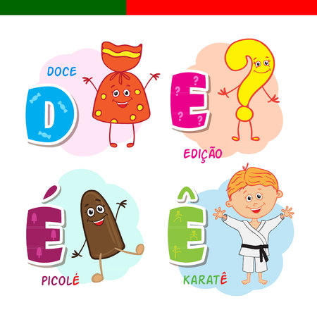 Portuguese alphabet. Candy, question mark, popsicle, karate. The letters and characters. Illustration