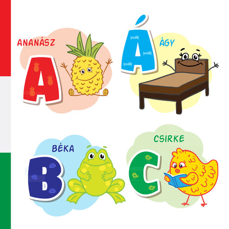 Hungarian alphabet. Pineapple, bed, frog, chicken. Vector letters and characters.