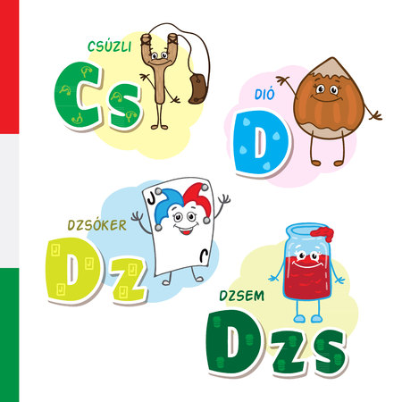 Hungarian alphabet. Slingshot, Walnut, Joker, Jam. Vector letters and characters.