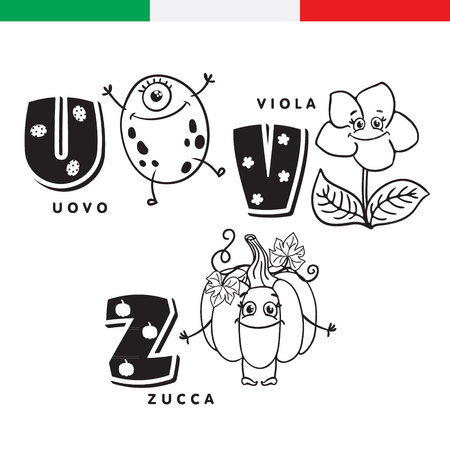 Italian alphabet. Egg, violet, pumpkin. Vector letters and characters.