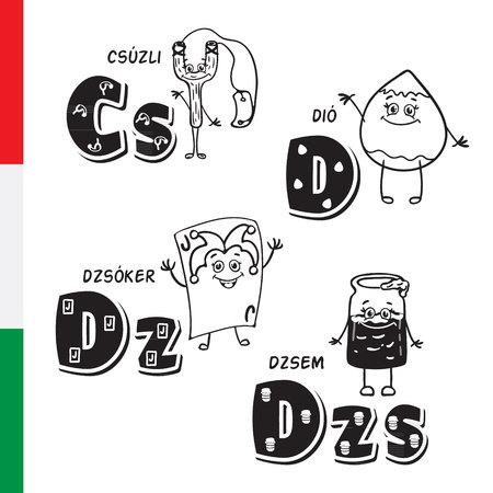 slingshot: Hungarian alphabet. Slingshot, Walnut, Joker, Jam. Vector letters and characters.