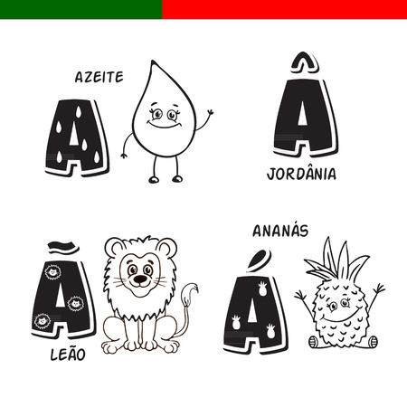 Portuguese alphabet. Olive oil, lion, pineapple. The letters and characters.