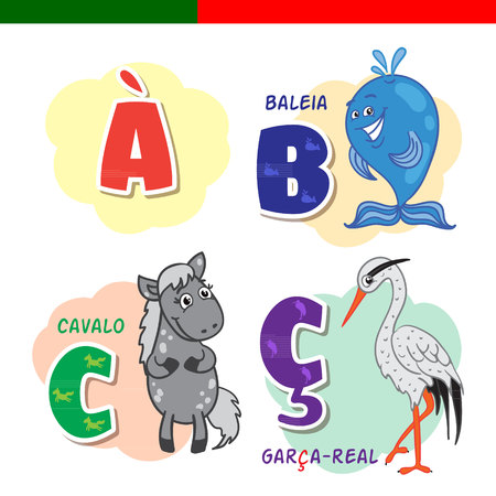 school: Portuguese alphabet. Horse, heron, whale. The letters and characters.