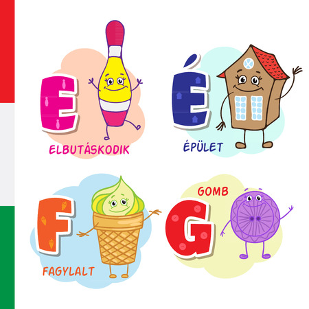 Hungarian alphabet. Bowling, building, ice cream, button. Vector letters and characters.