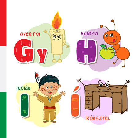 Hungarian alphabet. Candle, Ant, Injun, Deck. Vector letters and characters