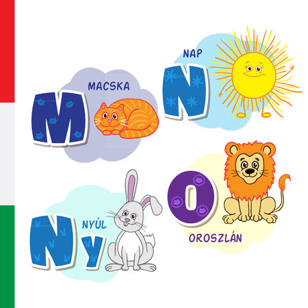 Hungarian alphabet. Cat, Sun, Rabbit, Lion. Vector letters and characters.