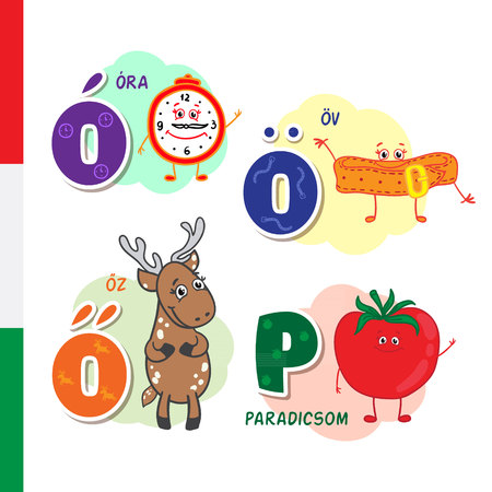 Hungarian alphabet. Alarm, Belt, Roe, Tomato. Vector letters and characters.