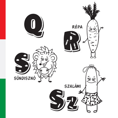 Hungarian alphabet. Carrot, Hedgehog, Salami. Vector letters and characters.