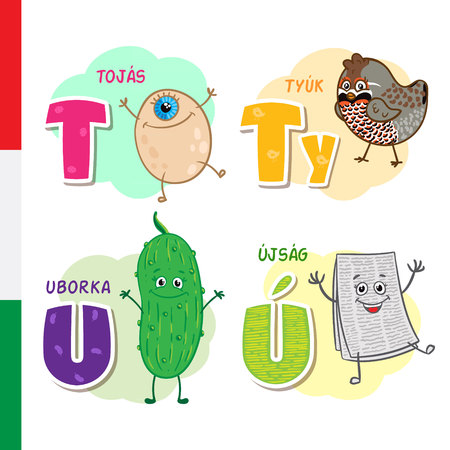 Hungarian alphabet. Egg, Wild bird, Cucumber, Newspaper. Vector letters and characters. Illustration