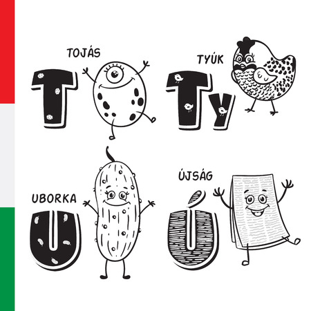 Hungarian alphabet. Egg, Wild bird, Cucumber, Newspaper. Vector letters and characters. Ilustracja