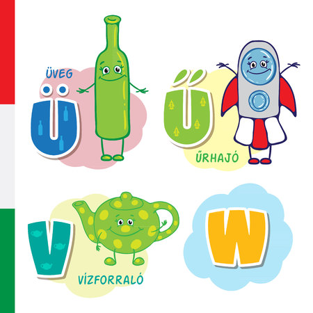 Hungarian alphabet. Bottle, Spacecraft, Maker. Vector letters and characters.