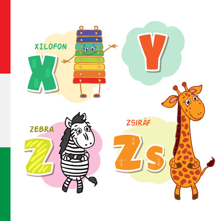 Hungarian alphabet. Xylophone, Zebra, Giraffe Vector letters and characters