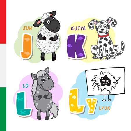 Hungarian alphabet. Sheep, Dog, Horse Hole Vector letters and characters